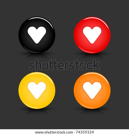 Colored web 2.0 button with heart sign. Round shapes with reflection and shadow on gray background. 10 eps - stock vector