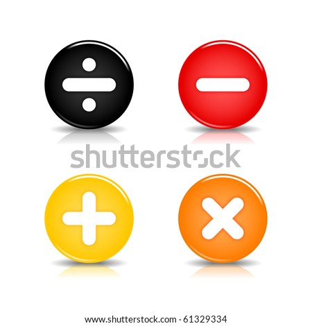 Colored web 2.0 button with math symbols. Round shapes with reflection and shadow on white background. 10 eps