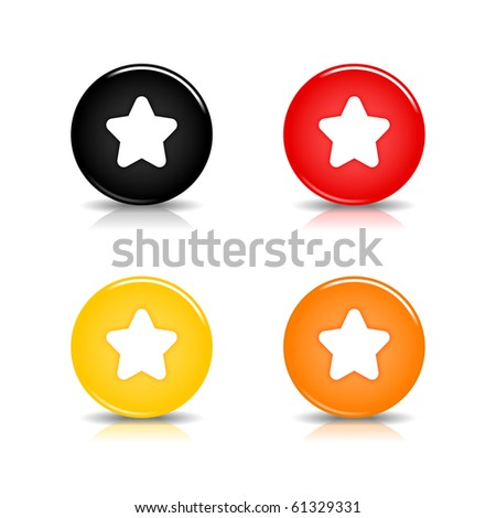 Colored web 2.0 button with star sign. Round shapes with reflection and shadow on white background. 10 eps