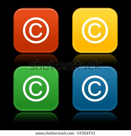 Colored web 2.0 buttons with copyright symbol. Rounded square shapes with reflection on black background - stock vector