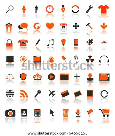 colored web icons - vector set - stock vector