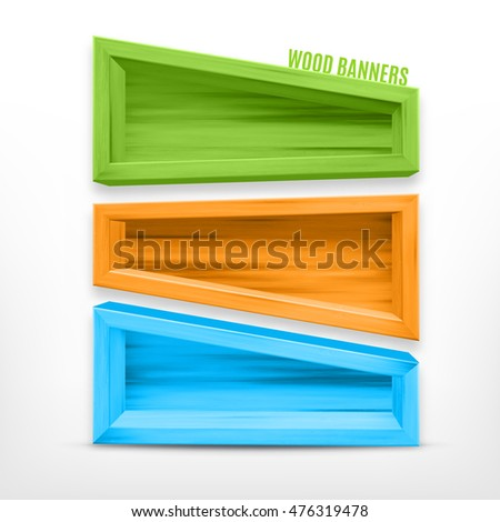 Colored wooden banners. EPS10 vector
