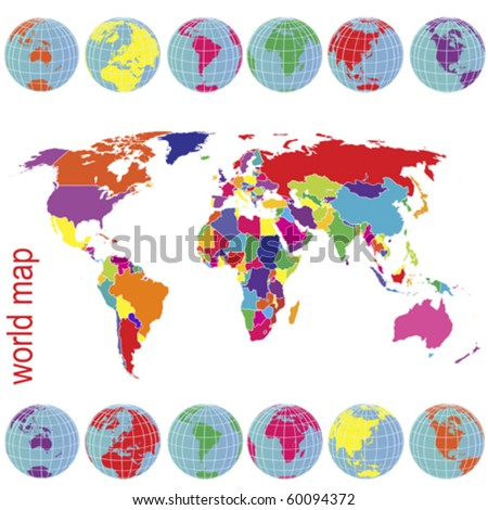 Colored world map and Earth globes - stock vector