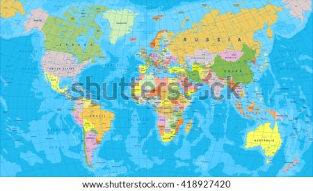 Colored world map borders countries cities stock vector 418927420 colored world map borders countries and cities illustration highly detailed colored vector illustration gumiabroncs Gallery