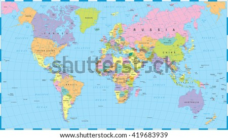 Colored world map borders countries cities vector de stock419683939 colored world map borders countries and cities illustration highly detailed colored vector illustration gumiabroncs Images