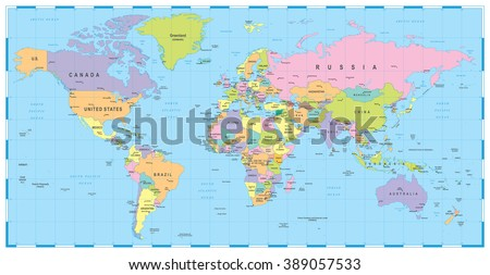 Colored World Map Borders Countries Cities Stock Vector 389057533