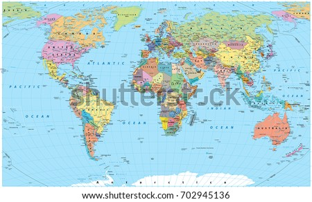 Colored world map borders countries roads vectores en stock colored world map borders countries roads and cities detailed world map vector gumiabroncs