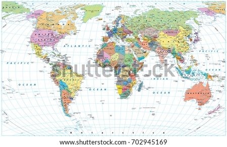 Colored World Map Borders Countries Roads Stock Vector - Detailed world map
