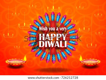 Colorfu Firecracker on Happy Diwali night celebrating holiday of India. Vector illustration