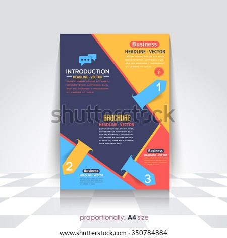 Colorful A4 Flyer and Brochure, Catalog Cover, Corporate Leaflet and Background Design - stock vector