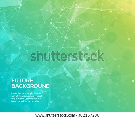 Colorful abstract background. Abstract polygonal  background with connecting dots and lines. Connection structure. Vector science background.  - stock vector