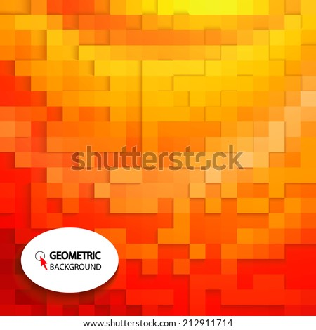 Colorful abstract background. Square pattern in yellow and orange colors. Vector illustration - stock vector