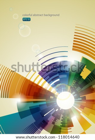 colorful abstract background with shiny elements - stock vector