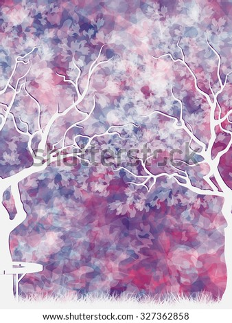 Colorful abstract background with trees and bench. Vector, EPS 10
