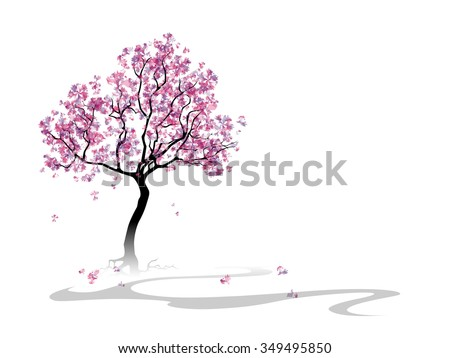 Colorful abstract blooming cherry tree. Template with place for inscription. Spring background with cherry blossoms. Spring landcsape. Watercolor imitation. Vector, EPS 10. - stock vector