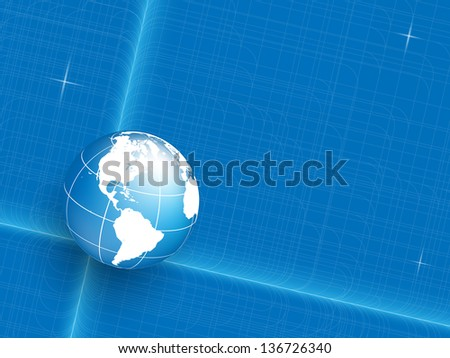 colorful abstract blueprint vector background with globe. Eps10 - stock vector