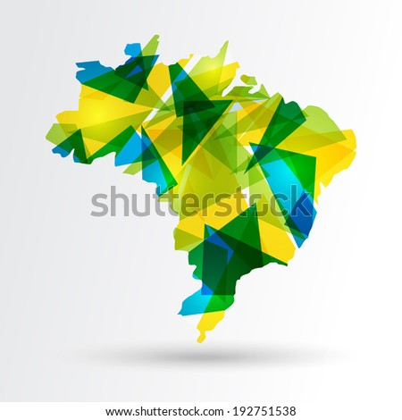 Colorful abstract Brazil map. EPS10 vector with transparency organized in layers for easy editing. - stock vector