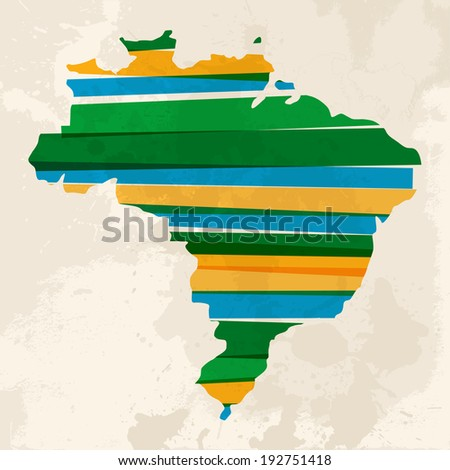 Colorful abstract Brazil map with striped. EPS10 vector with transparency organized in layers for easy editing. - stock vector