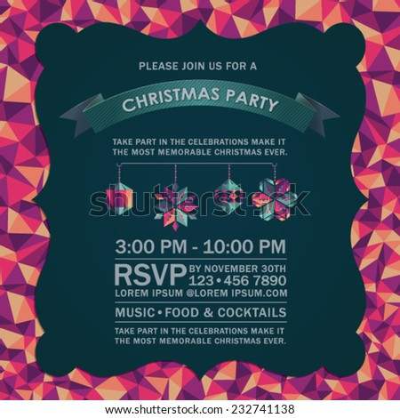 Colorful Abstract Christmas Party Invitation Card. - stock vector