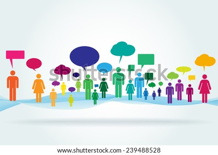 Colorful abstract crowd with speech bubbles standing on an abstract background. - stock vector