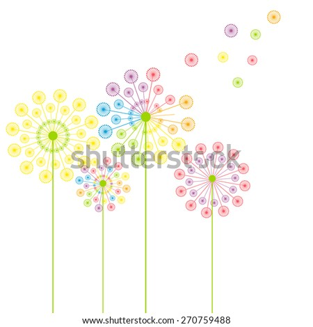 Colorful abstract dandelions - stock vector