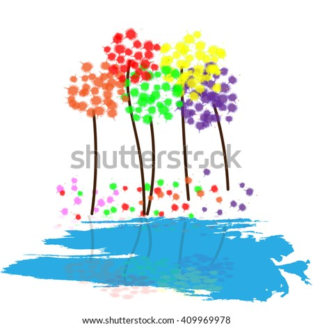 Colorful abstract dandelions. Abstract tree with lake. Vector illustration EPS 10 - stock vector