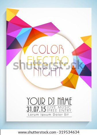Colorful abstract design decorated flyer, template or banner with details for Party Night.  - stock vector