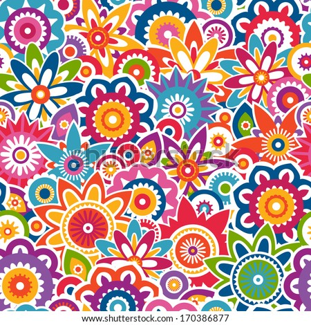 Colorful abstract floral pattern. Seamless vector background. EPS 8.