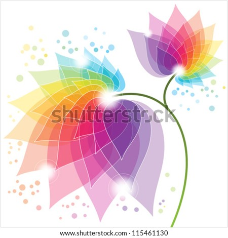 colorful abstract flower - stock vector