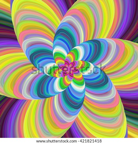 Colorful abstract fractal spiral design background vector - stock vector