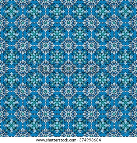 Colorful abstract graphic background, seamless geometric pattern, fabric repeating texture. Tribal ethnic ornament, doodle vector illustration.  - stock vector
