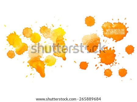 colorful abstract hand drawn watercolour aquarelle yellow orange art drop splatter stain paint on white background. - stock vector
