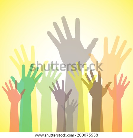 Colorful abstract hand vectors raised together showing unity. This unusual graphic also represents happy children playing, people at party, people asking help, employees protest and demonstration