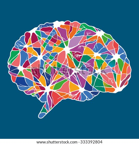 Colorful abstract human brain - stock vector