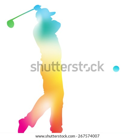 Colorful abstract illustration of a Golfer driving high to hit a hole in one in this Championship Tournament through a haze of summer blurs.