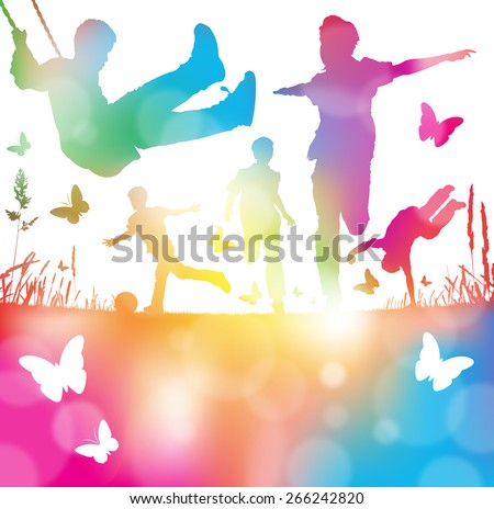 Colorful abstract illustration of a Young Boys Playing, Running and Leaping through a haze of summer blurs. - stock vector