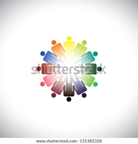 Colorful abstract illustration of people holding hands together. The graphic represents people joining as a community for various social needs and standing up for each other - stock vector