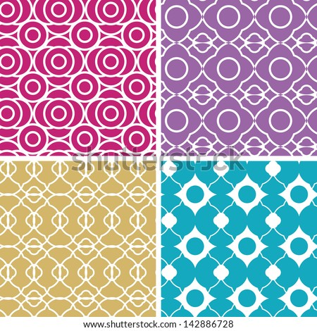Colorful abstract lineart geometric seamless patterns set - stock vector