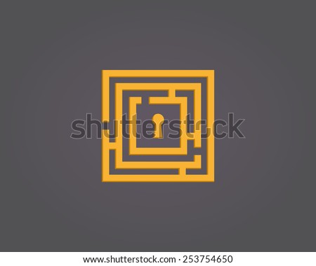 Colorful abstract maze logo - stock vector