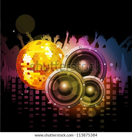 Colorful abstract musical background with loud speakers and  disco ball. EPS 10. - stock vector