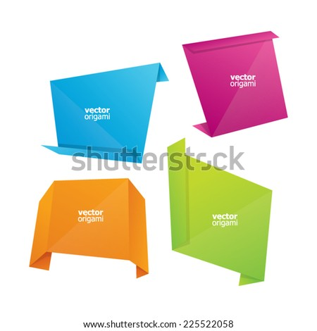Colorful Abstract Origami Labels - stock vector