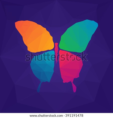 Colorful abstract polygonal mosaic geometric butterfly on purple background. Vector illustration. - stock vector