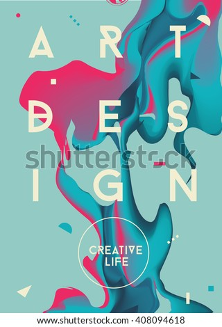Colorful abstract poster. Liquid ink. Modern style trends. Background for banner, card, poster, identity,web design.