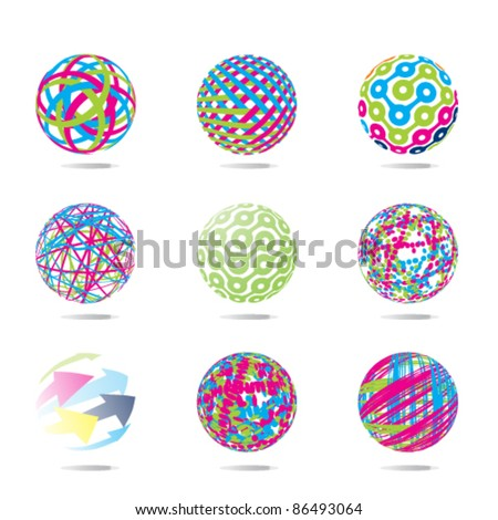 colorful abstract set of balls - stock vector