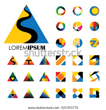 colorful abstract unusual shapes vector logo icons of design elements.  - stock vector