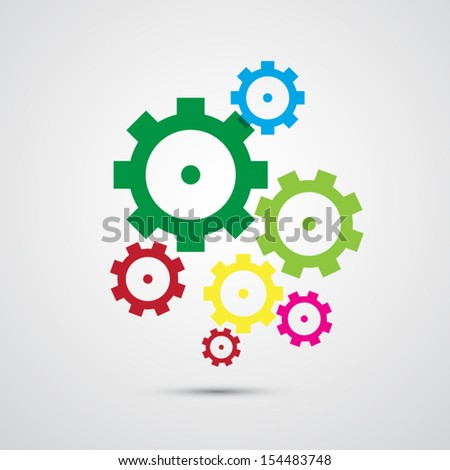 colorful abstract vector cogs, gears isolated on white background - stock vector