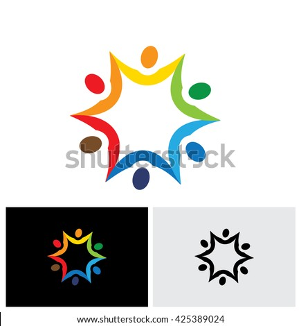 colorful abstract vector logo icon of people connected together. this graphic also represents communities collaborating as team for common good and society peace and universal harmony - stock vector