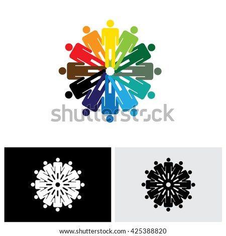 colorful abstract vector logo icon of people holding hands together. this graphic also represents people joining as a community for various social needs and standing up for each other - stock vector