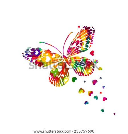 Colorful abstract watercolor butterfly with hearts on a white background. Valentine's Day.  Vector  - stock vector