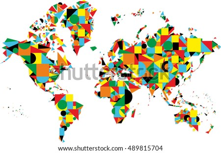 Colorful abstract world map